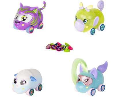 TOMY Ritzy Rollerz Toy Cars with Surprise Charms, 4Ever Friends, 4 Pack
