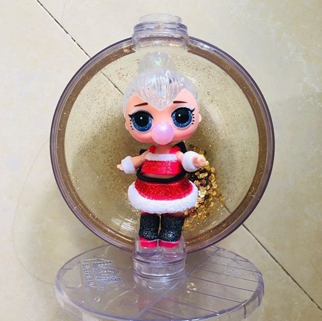 Sleigh Babe Glitter Globe Doll