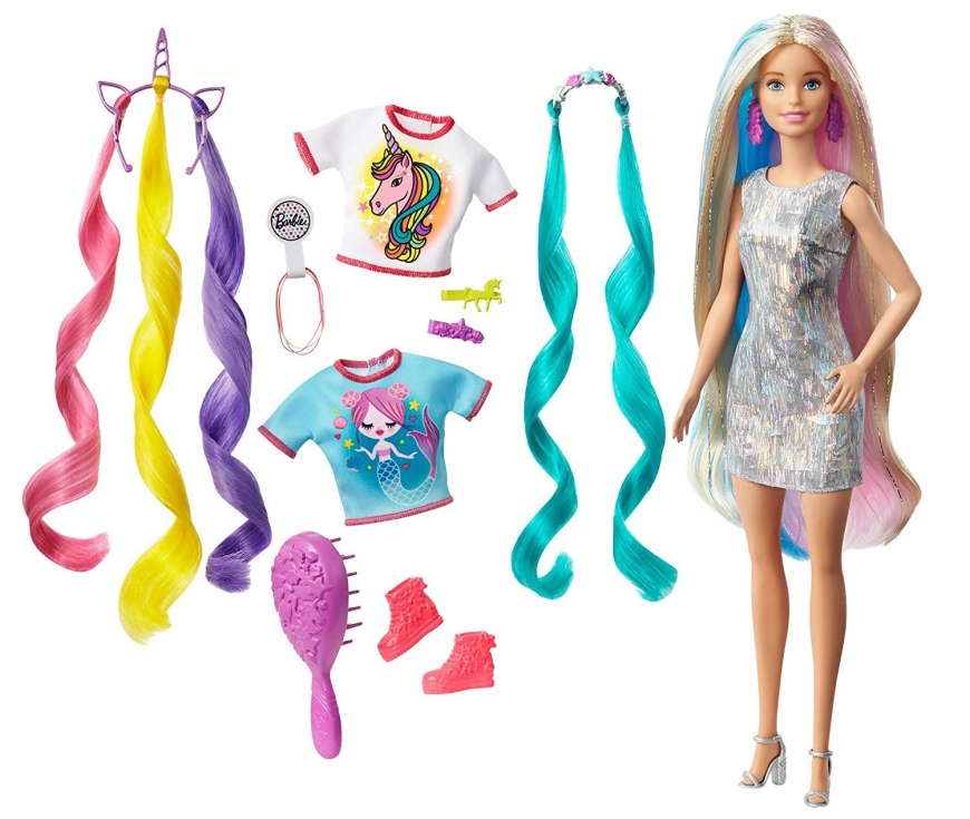 Release date of Barbie Fantasy Hair - new hair themed Barbie with Mermaid crown and Unicorn hair crown
